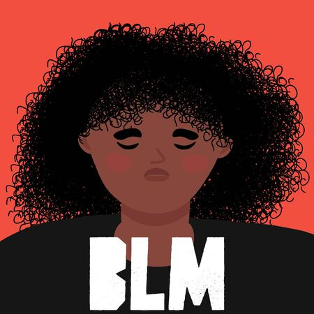 Black lives matter concept. Sad african american girl on a red background as a symbol of protest against racism and police abuse. Vector flat illustration in the cartoon style.