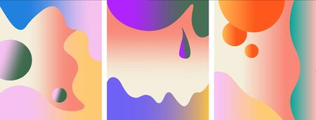 Vector bright set of abstract summer backgrounds with trendy gradient for banners, posters, cover design templates, stories and wallpapers. 일러스트