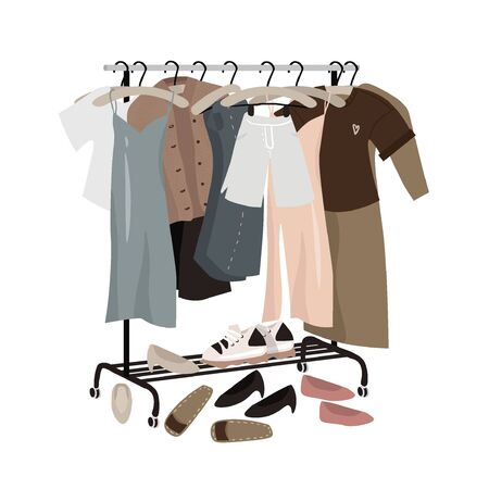 Rail with everyday fashionable things: clothes and shoes. Minimalistic capsule wardrobe in muted shades. Spring-summer clothing collection. Tender vector flat illustration.