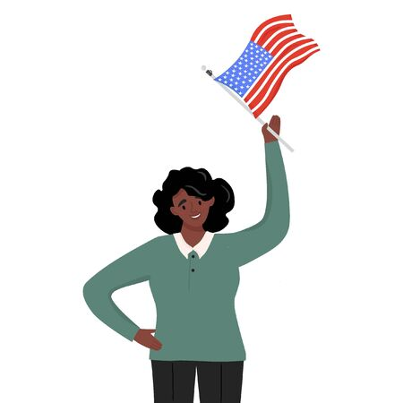 Flag Day. Nice vector flat illustration in cartoon style with afro american woman with the American flag in her hand. Illustration in honor of the national holiday of Flag Day on June 14. 일러스트