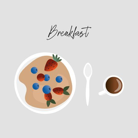 Breakfast time. Nice vector flat breakfast illustration. Porridge in a plate with fresh berries, a spoon and a cup of coffee in a cartoon style with a gradient.