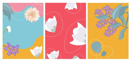 Flowers cover design for brochures, stories, applications. Vector flat set of cover designs in trendy bright colors. Set of abstract summer backgrounds.