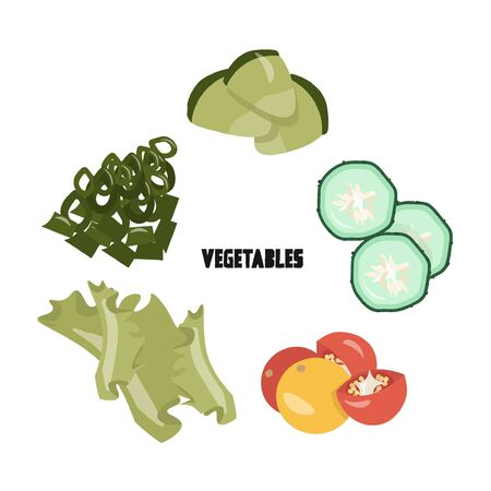 Vegetables concept. Cute vector flat illustration with chives, salad, cherry tomatoes, cucumber slices, avocado in cartoon style. 일러스트