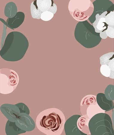 Trendy nice vector flat floral background for summer and spring posters, flyers, wedding cards, festival and market. Powdery brown background with bombastic roses, cotton and eucalyptus for holidays.