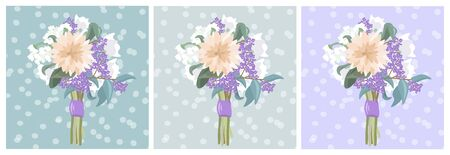 Vector card with a summer bouquet on the backgrounds of different colors. Tender vector flat illustration with a bouquet of flowers. Bouquet for women on wedding, Women's Day and Mother's Day.