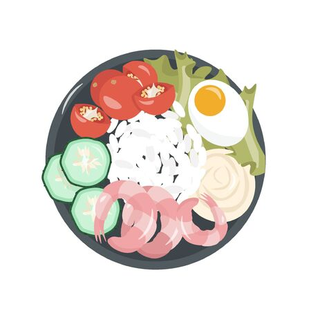 Healthy food. A healthy and satisfying poke bowl lunch made from rice, shrimps, egg, cucumbers, cherry, lettuce and cream cheese. Pleasant vector flat illustration of poke bowl in cartoon style.