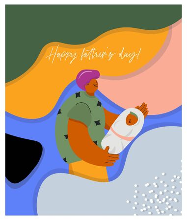 Happy father's day! Funny father and newborn son on trendy bright background. Nice vector flat card for father's day in cartoon style.