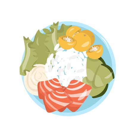Healthy food. A healthy and satisfying poke bowl lunch made from rice, salmon, avocado, cherry, lettuce and cream cheese. Pleasant vector flat illustration of poke bowl in cartoon style. 일러스트