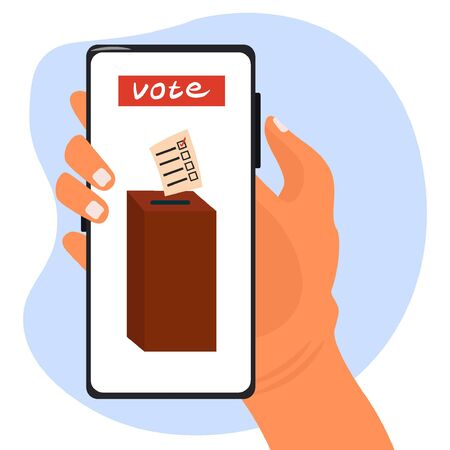 Electronic voting, remote voting through the government services application. Online elections. Vector flat illustration with a smartphone in the hand of a girl who puts her vote in election box