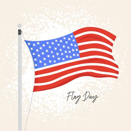 Flag Day. Nice vector flat illustration in cartoon style with the American flag in honor of the national holiday of Flag Day on June 14.