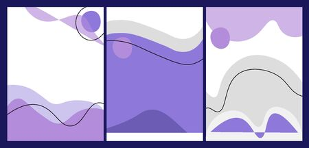 Minimalistic cover design for brochures, stories, applications. Vector flat set of cover designs in trendy blue and violet colors. Set of abstract backgrounds with place for text.