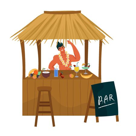 King Kamehameha Day. A nice vector flat postcard with a happy hawaiian barmen in a traditional hawaiian flower garland. Cute illustration with beach bar for the oldest holiday of the USA.