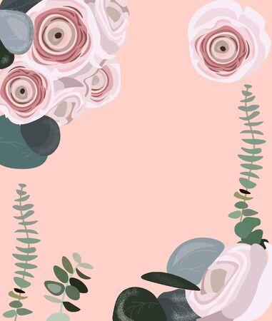 Nice vector flat floral background for summer and spring posters, flyers, wedding cards, festival and market. Powdery pink background with ranunculuses and eucalyptus for different holidays.