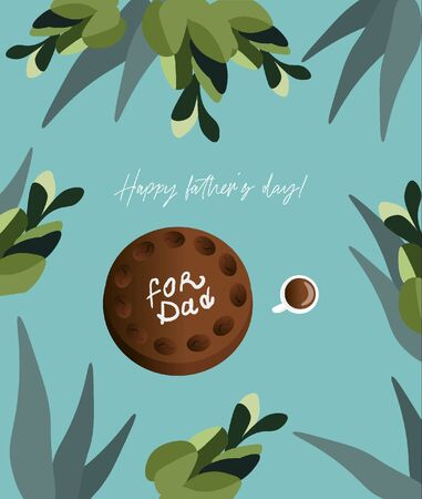Happy father's day! Trendy greeting card for dad with chocolate and coffee cake and a cup espresso on a bright  turquoise background with eucalyptus and hyacinths. Vector flat card for father's day.