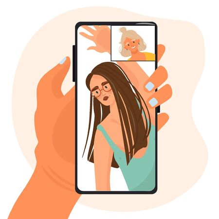 Trendy online photo session by video in the period of quarantine. A female photographer photographs a girl model remotely through the phone screen. Vector flat illustration in cartoon style. 일러스트