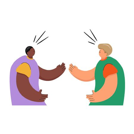Protests in the USA. Concept of dialogue between black and white American people. Vector flat illustration with two men in cartoon style and nice colors.