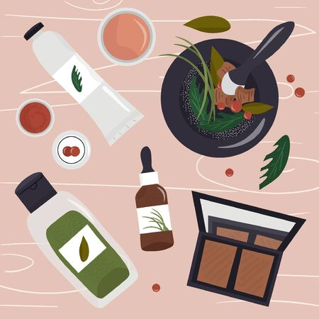 Organic natural cosmetics, the manufacture of eco products for the care of face and body skin. Nice vector flat illustration with beauty products and herbs in a mortar and pestle. 일러스트