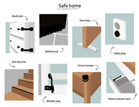 Safe home. Various devices for the safety of children and animals at home. Door and window clamps, anti-slip tape and mat, drawer stopper, plug. Nice vector flat illustration in cartoon style.