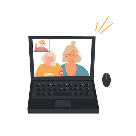 Video communication. An elderly father makes a video call to his daughter and granddaughter. Nice flat vector illustration with laptop and people in cartoon style on a white background. 矢量图像
