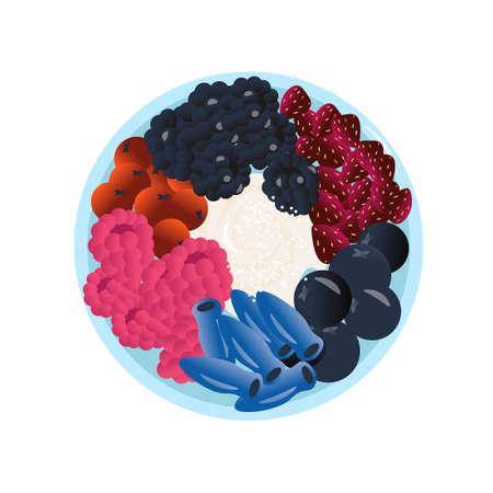 Healthy food vector concept in cartoon style. A healthy and vitamin poke bowl made from yogurt, fresh berries of strawberries, cranberries, honeysuckle, blueberries, blackberries, raspberries.