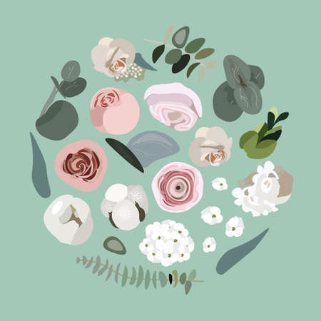 An airy and delicate floral concept. Set of floral elements for design. Eucalyptus, roses, cotton, ranunculi and greens. Flowers and plants for different holidays. Nice vector flat illustration.