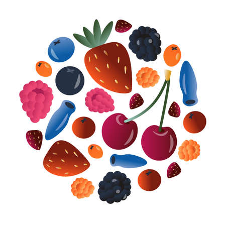 Fresh berry concept. Vitamins concept. Cute vector flat illustration with bright berries from different regions in cartoon style with trendy gradient. Ilustracja