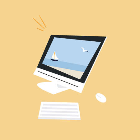 The concept of working in dreams of vacation. Trendy computer with summer wallpaper on the screen. Modern monitor, mouse and keyboard. Nice vector flat illustration with a computer in cartoon style. 일러스트