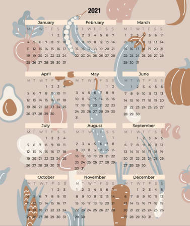 Modern vector calendar for 2021 with vegetables, herbs and mushrooms of unusual colors. Flat strict cadendary form for 12 months with days of the week. Calendar template for time management.
