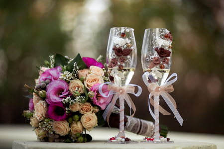 bouqet: Wedding bouquet with glasses Stock Photo