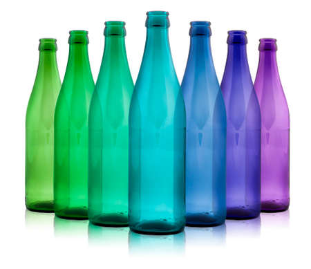 colored glass bottles photo
