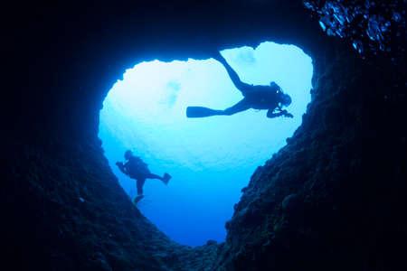 水中洞窟 写真素材