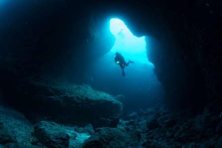 Underwater cave 写真素材