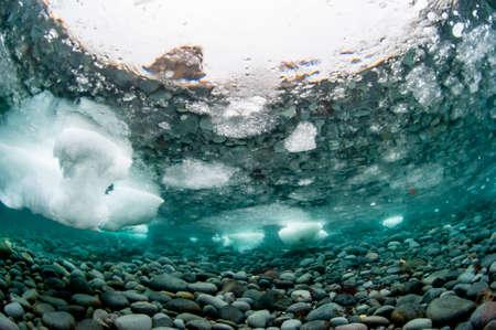 Drift Ice from underwater view