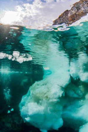 Drift Ice and diver Banco de Imagens