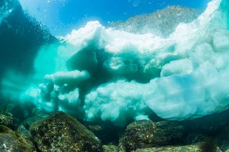 Drift Ice in Rausu,Shiretoko,underwater view Banco de Imagens