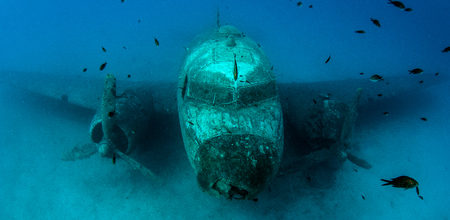 underwater ocean: Airplane Wreck Stock Photo