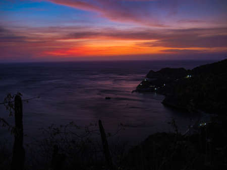 Sunset over the sea in Santa Marta, Colombia