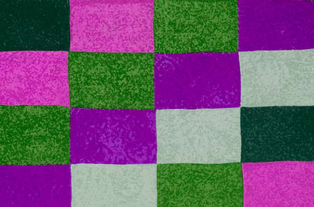 Animated texture with a colorful square pattern.Abstract background. Background is made of purple,green and milky color.