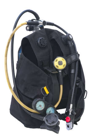 diving equipment: Set of Scuba Diving equipment isolated on white
