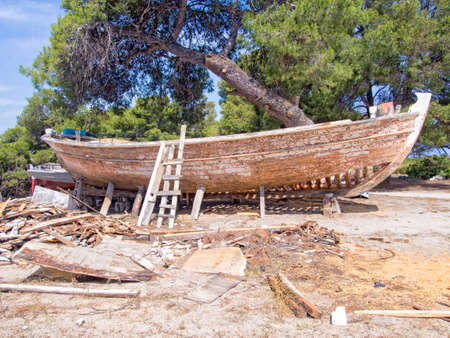 restored: Old wooden fishing boat being restored