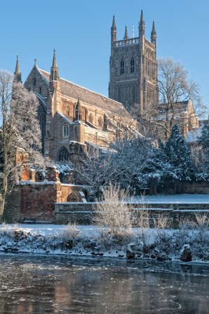 Worcester Cathedral on a cold day in Winter
