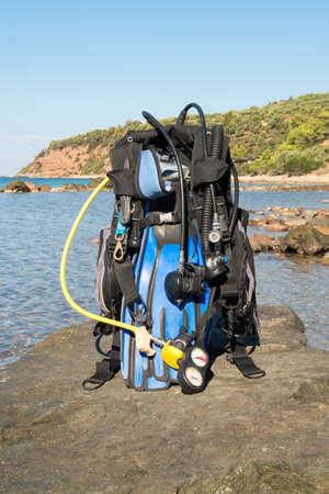 padi: Set of Scuba Diving kit set up ready for a dive