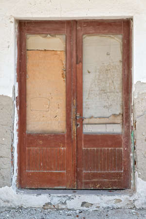 boarded up: Old boarded up wooden door Stock Photo