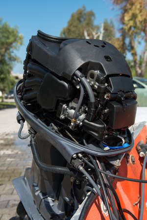 outboard: Outboard motor with cowling off
