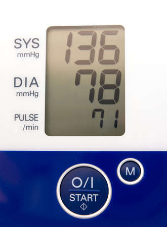 systolic: Screen showing the readings of a blood pressure monitor Stock Photo