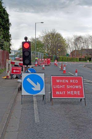Traffic lights and diversion at road works