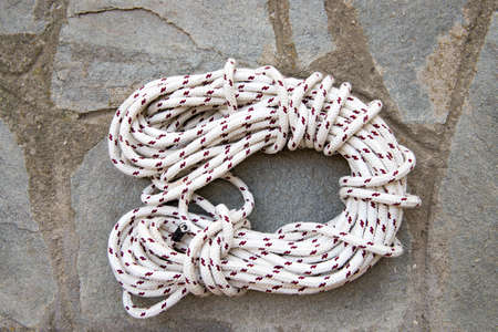 coiled rope: Coiled lenght of rope Stock Photo