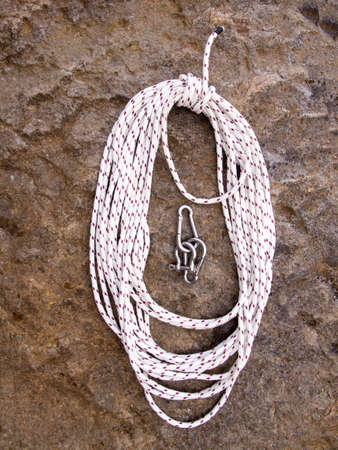 coiled rope: Coiled rope and shackles ready to use