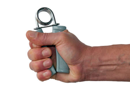 strengthen hand: Male hand using grip strengtheners isolated on white