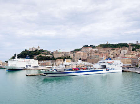 ferries: ANCONA,ITALY-MAY 07 2014 :Ferries in the port of Ancona loading and getting ready to sail Editorial